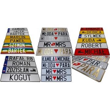Tablice ślubne rejestaracyjne imienne różne kolory