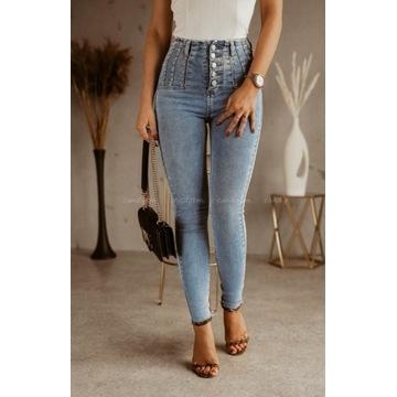 Spodnie dżinsowe ćwieki wysoki stan M 38