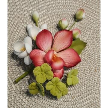 Storczyk kwiat cukrowy bukiecik na TORT, dekoracja
