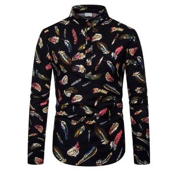 Koszula męska bawełna czarna stójka SLIM FIT  L