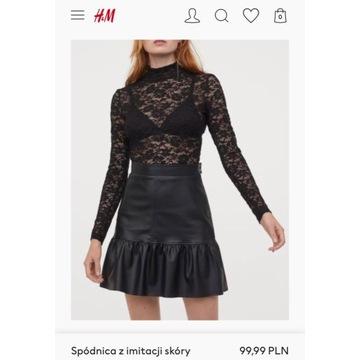 Spódnica H&M czarna z imitacji skóry z obecnej kol