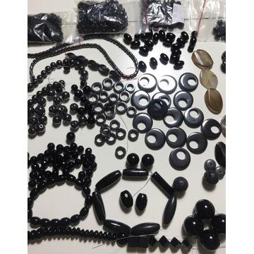 Kamienie półszlachetne onyx, hematyt, agat zestaw