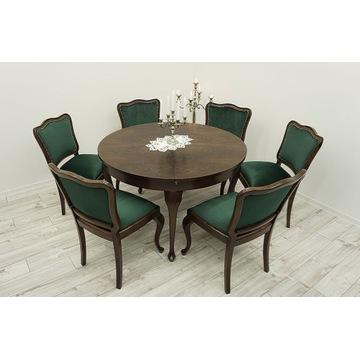 Stół+6 krzeseł w stylu ludwk jadalnia po renowacji