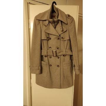 Płaszcz dwurzędowy z wełną jak nowy L