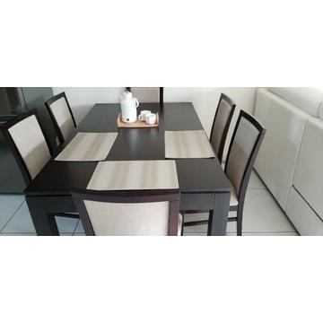 Stół drewniany venge 160x100 plus 6 krzeseł