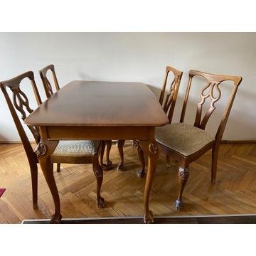 Piękny francuski dębowy stół z 4 krzesłami