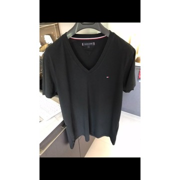 Koszulka czarna, t-shirt męski Tommy, oryginał, L
