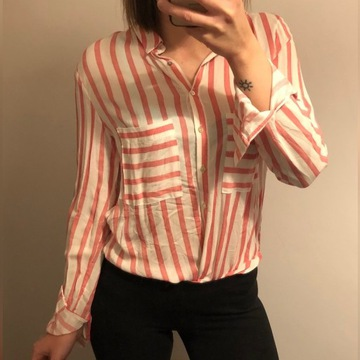 NOWA Koszula w paski róż-biel szyfon Stadivarius S