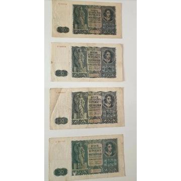 Banknoty 50 zł II RP ×4 z 1941r. Seria A, B, C, D