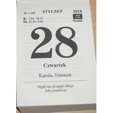 Kalendarz 2016 rok Zdzierak Kartka kalendarza 2016
