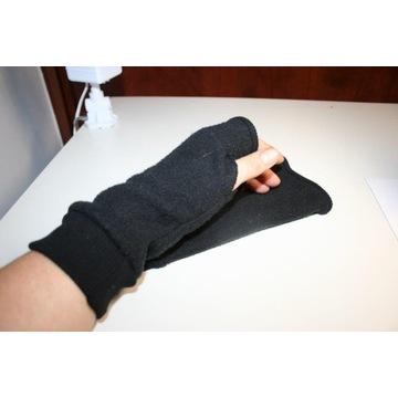 czarne szare damskie polarowe rękawiczki b.palców