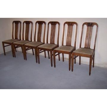 Krzesła dębowe 6 szt.z lat 1920,secesja ,antyk.