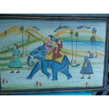"""Antyczny obraz indyjski """"Jadący na słoniu"""""""