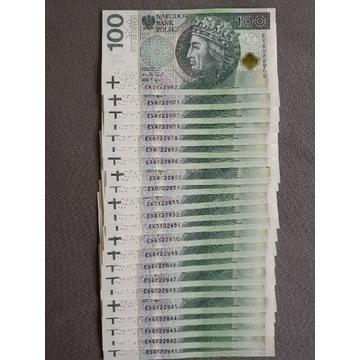 Banknoty 100zl kolejne numery 22szt. EX