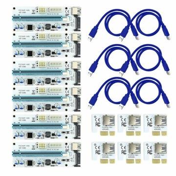 6x RISER 008S USB3.0 PCI-E PCI 1x-16x 6PIN SATA