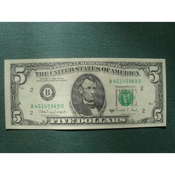 5 DOLLARS 1988 UNC-