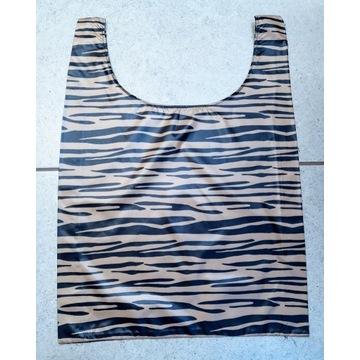 Torba eko zakupy wodoodporna zebra handmade czarna