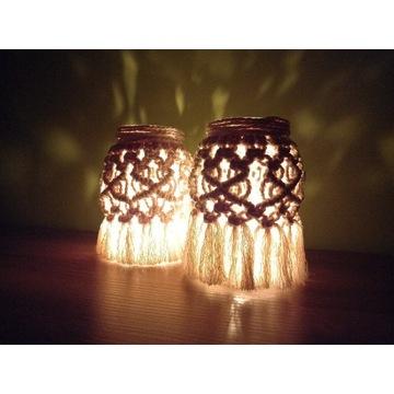 LAMPION BOHO, świecznik,makrama