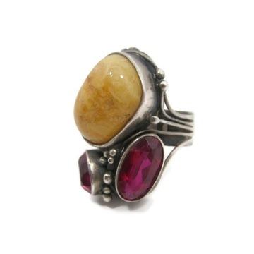 Stary srebrny pierścionek z kamieniami!
