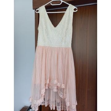 Sukienka kremowo-różowa 38