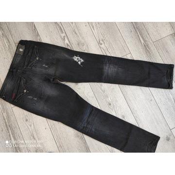 ROCK REBEL jeansy męskie przetarcia dziury 36/35