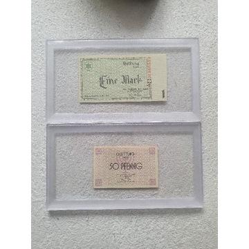 Banknoty 1 marka 1940 Getto,50 pfennig UNC-