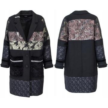 Desigual Abrig Joanna** jesienny płaszcz patchwork