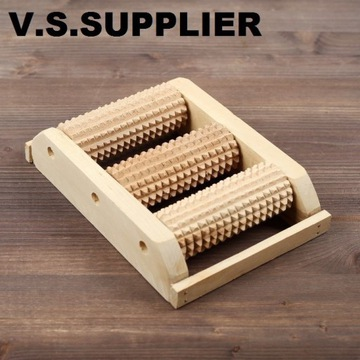 Masażer do stóp drewniany 3 rolki