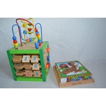 2w1 EKO drewniane edukacyjna kostka int, puzzle