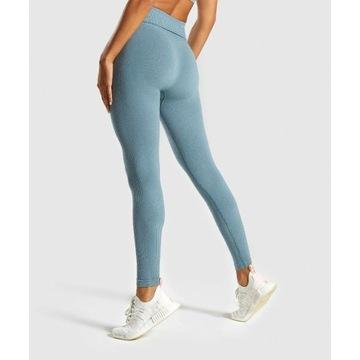 Gymshark Seamless legginsy XS turkus wysoki stan