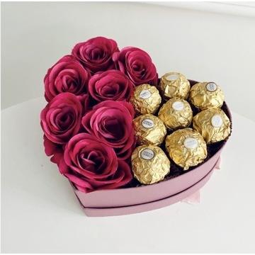 Flowerbox serce ze słodyczami
