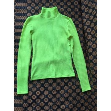 Zielony neonowy golf Pull & Bear rozmiar 34 XS