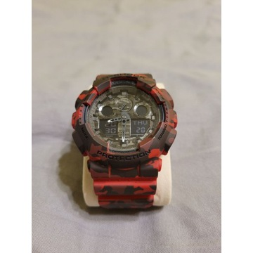 Zegarek Casio G-Shock GA-100CM-4AER czerwony moro