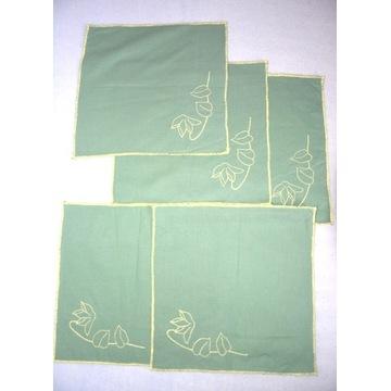 Komplet 5 nowych ręcznie haftowanych serwetek