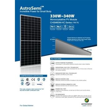 Moduły fotowoltaiczne  AstroSemi  CHSM60P-HC 340W