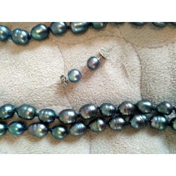 Długi sznur czarnych pereł + kolczyki