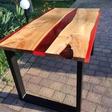Wyjątkowy stół z czereśni i żywicy / loft / żywica