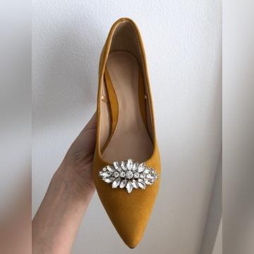 klipsy biżuteria ozdoby do butów srebrne