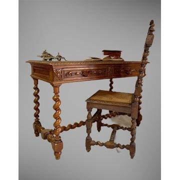 Piękne dębowe biurko myśliwskie Francja XIX wiek.