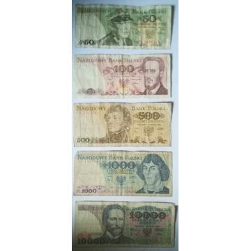 Zestaw 5 banknotów PRL