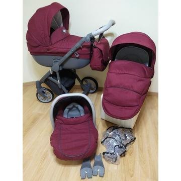 Przecudny bordowy wózek ROAN BASS SOFT Edition 3w1