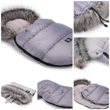 Śpiworek mini + muffka Cotton Moose kolor grey