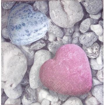 Serwetka decoupage 2 szt, serce, kamienie, miłość