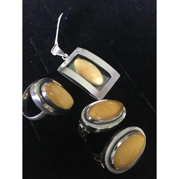 Klipsy,pierścionek,wisior - srebro próba 925