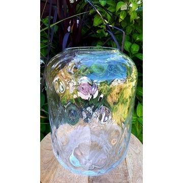 wazon szklany optyk lampion szlif 34cm