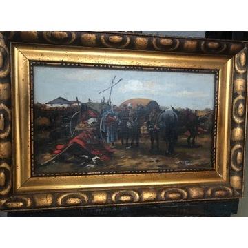 XIX w. Obraz -Targ Zaporoski olej na płótnie