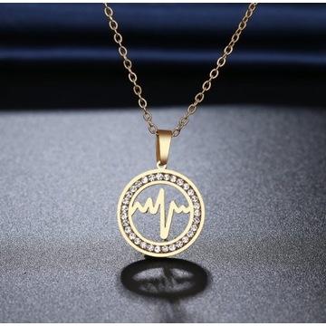 Naszyjnik bicie serca z cyrkoniami stal złoto