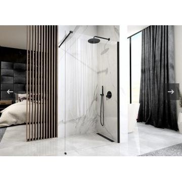 Ścianka prysznicowa walk-in 120cm AERO black Mat
