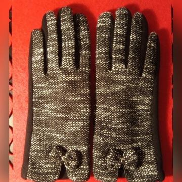 Rękawiczki styl tweed z kokardką r. 7 wys. GRATIS