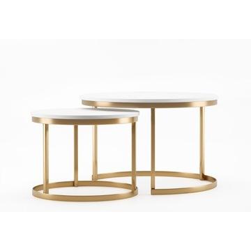 stolik kawowy glamour okrągły 2w1 złoty połysk